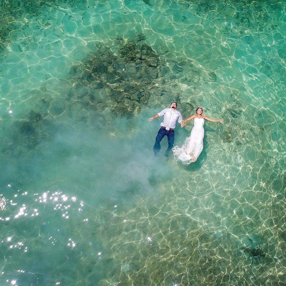 Bride and Groom Floating